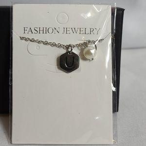 "Jewelry - Fashion Letter ""U"" Princess Necklace w 2"" extender"